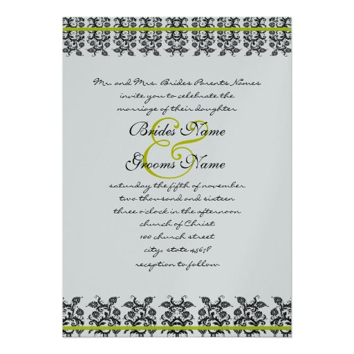 "Apple Green Wedding Invitations: Apple Green Damask Borders Wedding Invitation 5"" X 7"