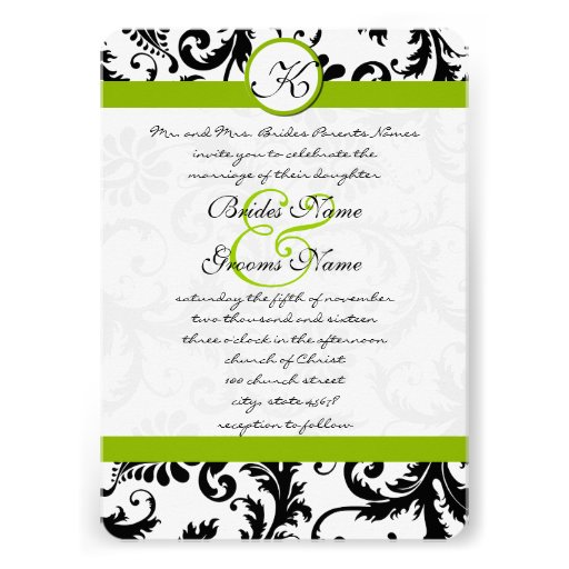 "Apple Green Wedding Invitations: Apple Green Damask Swirls Wedding Invitation 5"" X 7"