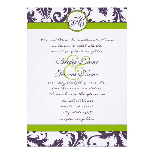 Apple Green Wedding Invitations: Personalized Purple Green Wedding Invitations
