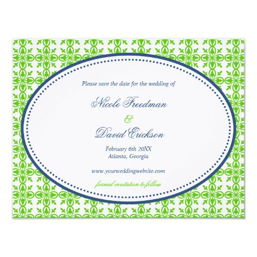 Apple Green Wedding Invitations: Apple Green Navy Oval Preppy Wedding Save The Date Card