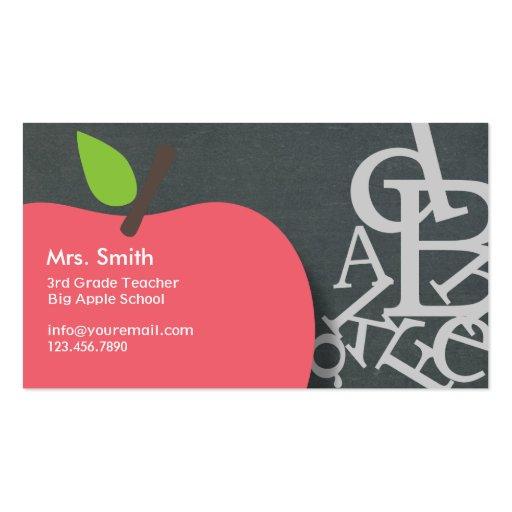 Le Letters Chalkboard School Teacher Business Card