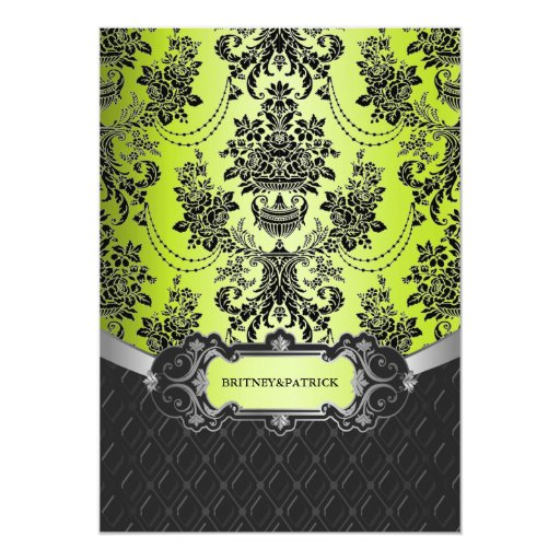 Apple Green Wedding Invitations: Apple Lime Green Black Damask Wedding Invitations
