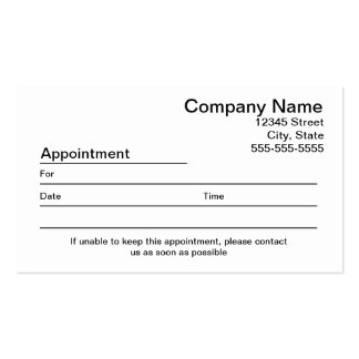Appointment Reminder Business Cards