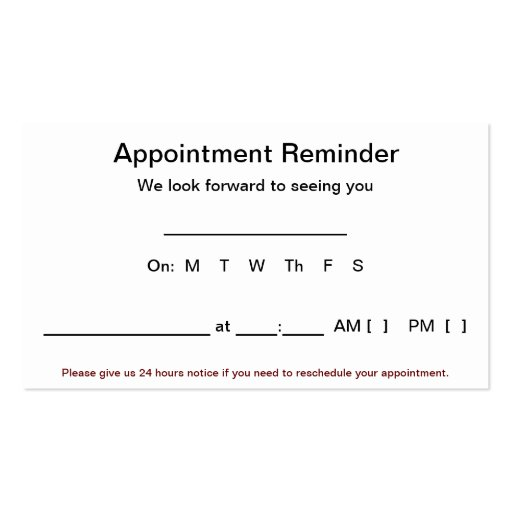Appointment Reminder Cards (100 pack-White) Business Card   Zazzle