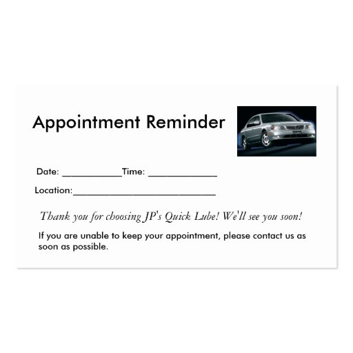 Appointment reminders double sided standard business cards for Medical appointment card template free