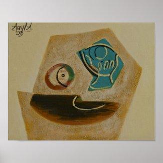 après Picasso, verre & pomme print