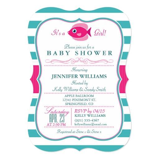 Fish Themed Baby Shower Invitations: Aqua And Pink Fish Baby Shower Invitation