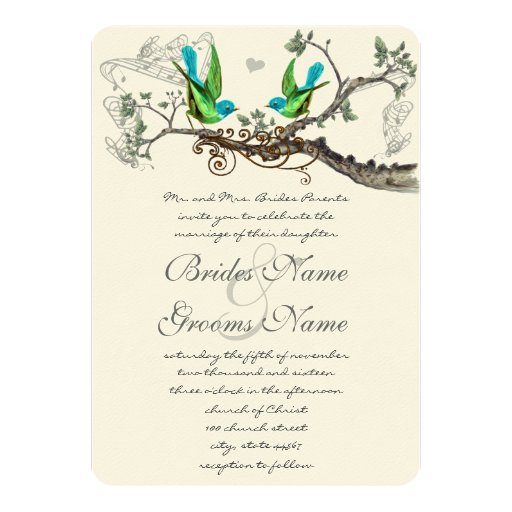Apple Green Wedding Invitations: Aqua & Apple Green Vintage Birds Wedding Invite