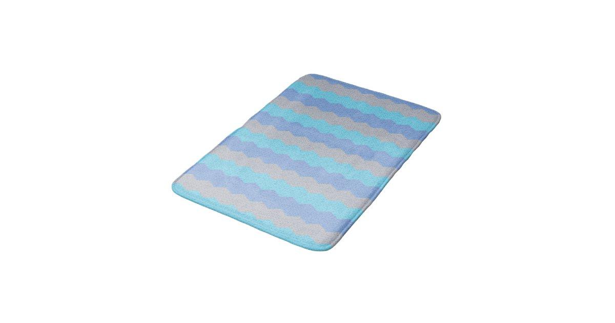 Aqua Blue And Grey Chevron Bathroom Mat Zazzle