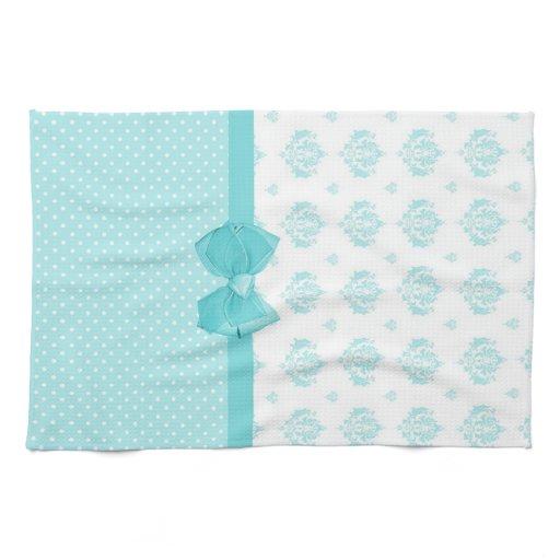 Turquoise Kitchen Towels: Aqua Blue Damask With Turquoise Ribbon Kitchen Towels