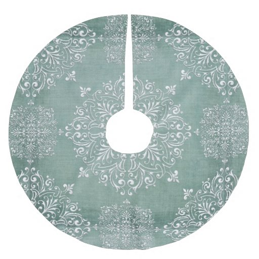 Aqua Christmas Tree Skirt: Aqua Blue & Lace Snowflake Design Tree Skirt