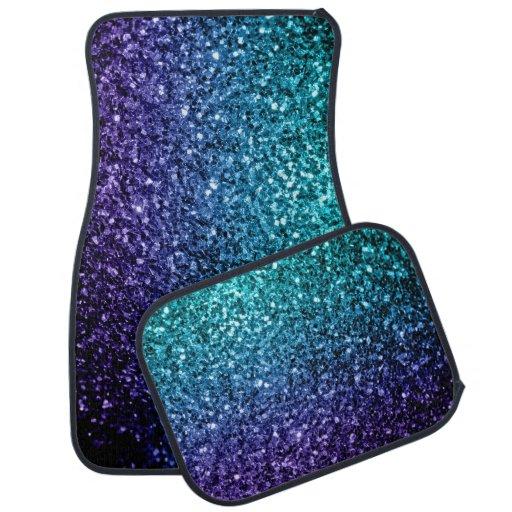Aqua Blue Ombre Glitter Sparkles Car Floor Mat Zazzle
