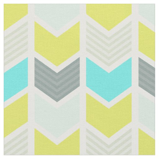 Aqua Blue Yellow Gray Geometric Chevron Pattern Fabric ...