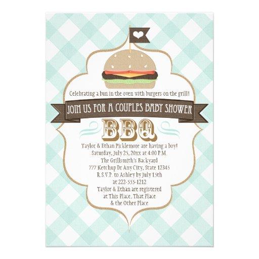 """Aqua Burger Couples BBQ Baby Shower Invitations 5"""" X 7"""