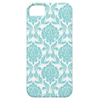 Aqua Damask Pattern Iphone 5 Covers