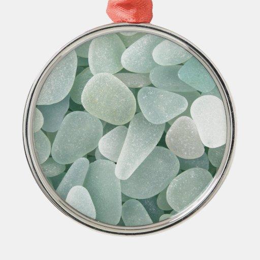 Baptism Ornament Round Glass: Aqua Sea Glass Round Metal Christmas Ornament