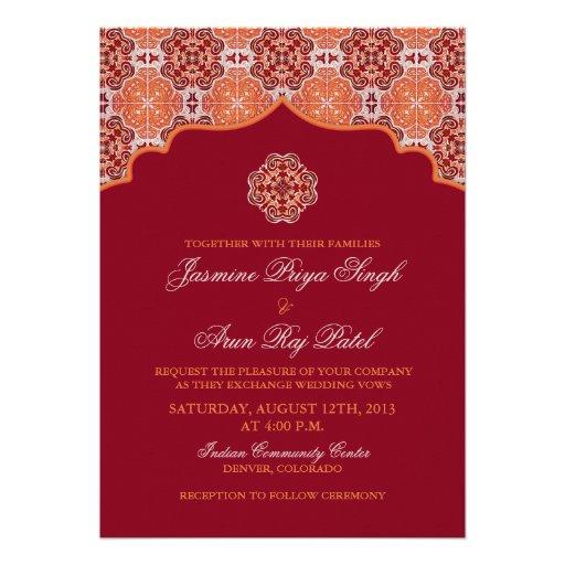 "Arabesque Orange Red Indian Wedding Invitation 5"" X 7"