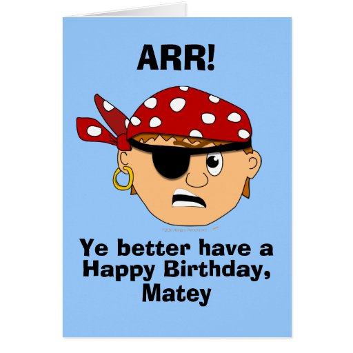 Birthday Card Template: Arr Pirate Boy Funny Birthday Card Template