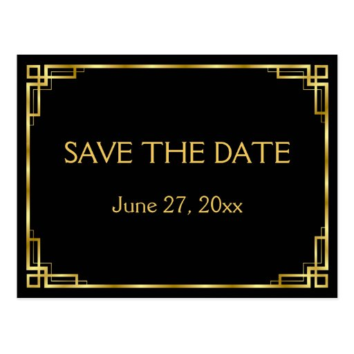 art deco black wedding save the date postcards zazzle. Black Bedroom Furniture Sets. Home Design Ideas