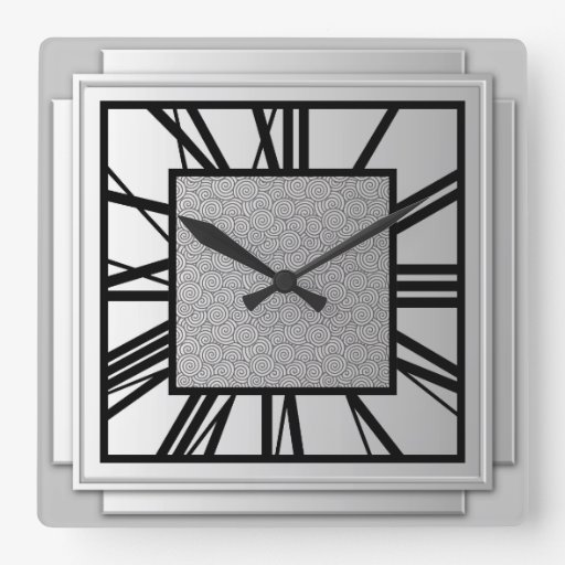 Art Deco Brushed Silver Square Wall Clock Zazzle