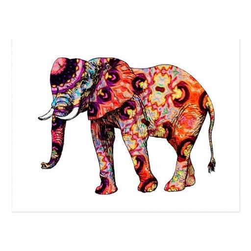 art deco colorful psychedelic elephant postcard zazzle. Black Bedroom Furniture Sets. Home Design Ideas
