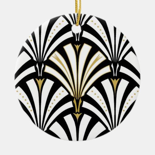 art deco fan pattern black and white ceramic ornament zazzle. Black Bedroom Furniture Sets. Home Design Ideas