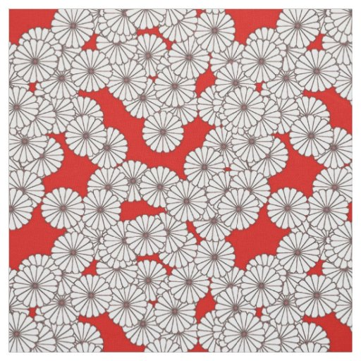 Art Deco flower pattern - white on red Fabric | Zazzle