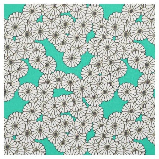 Art Deco flower pattern - white on turquoise Fabric | Zazzle