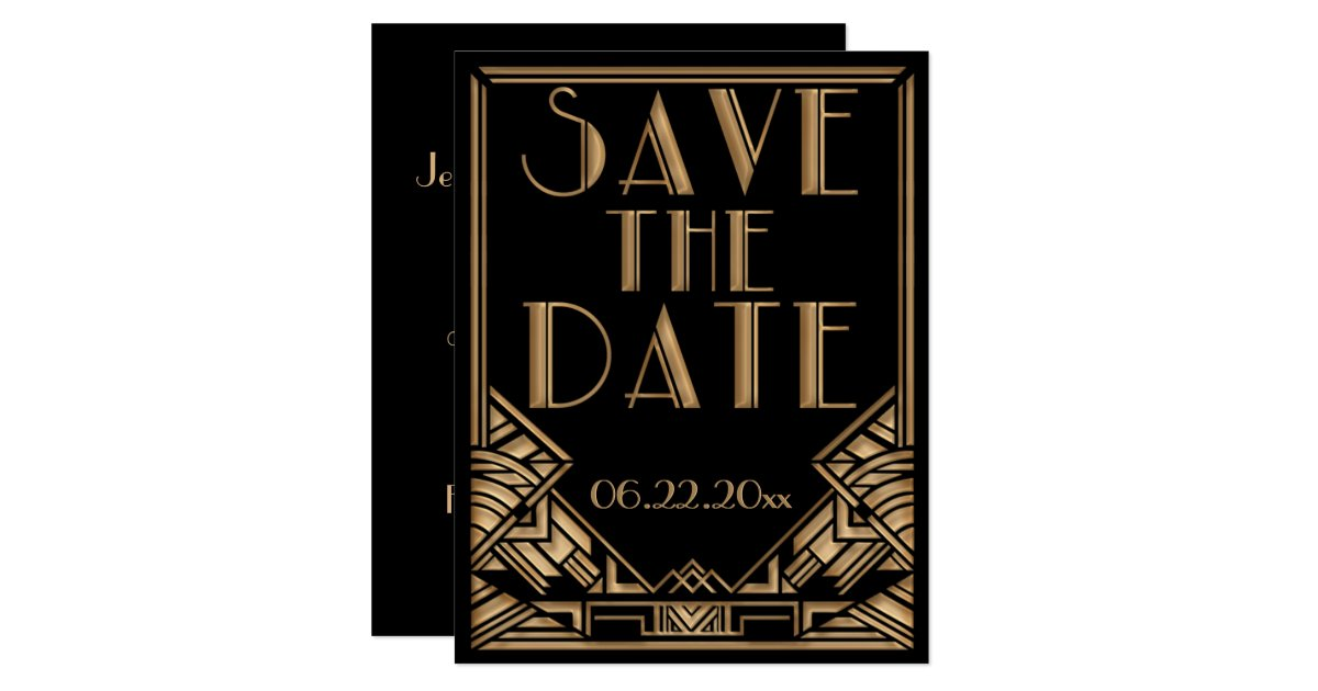art deco gatsby style wedding save the date card zazzle. Black Bedroom Furniture Sets. Home Design Ideas