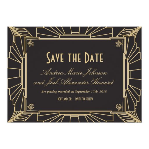 art deco save the date by origami prints card zazzle. Black Bedroom Furniture Sets. Home Design Ideas
