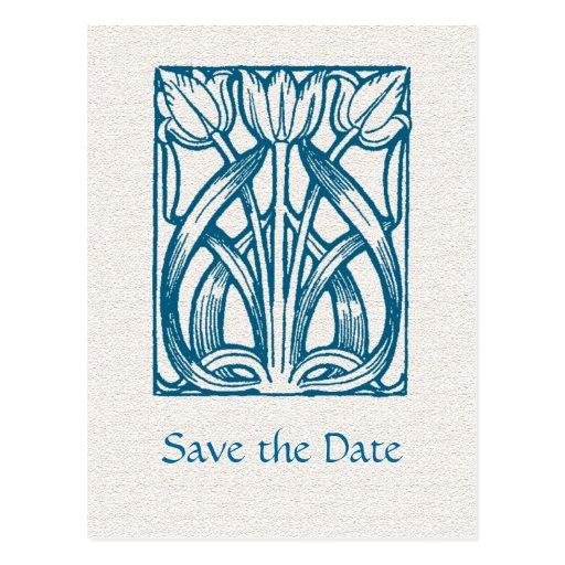 art deco turquoise tulips save the date postcard zazzle. Black Bedroom Furniture Sets. Home Design Ideas