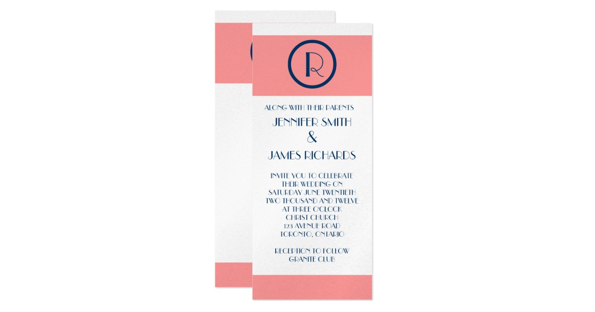 Navy Blue And Silver Wedding Invitations: Art Deco Wedding Invitation Coral Navy Blue Silver