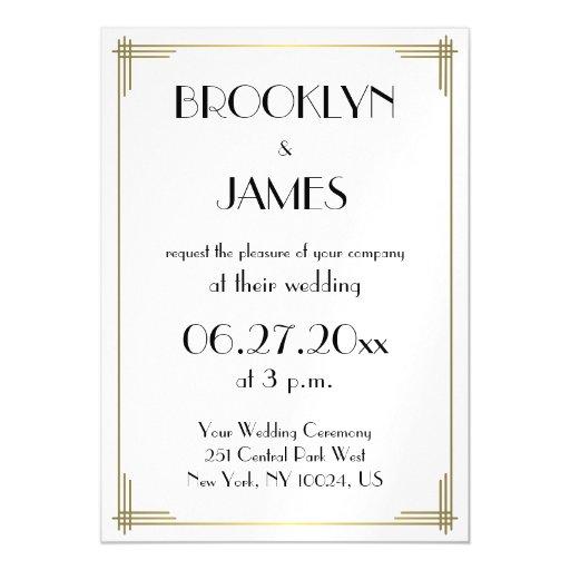 Great Gatsby Wedding Invites: Art Deco White Great Gatsby Wedding Invites Magnet