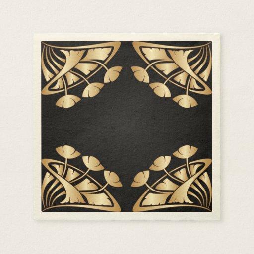 Black And Gold Beverage Napkins: Art Nouveau,deco,gold,black,chic,elegant,vintage,p