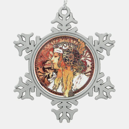 art nouveau mucha lady snowflake ornament zazzle. Black Bedroom Furniture Sets. Home Design Ideas