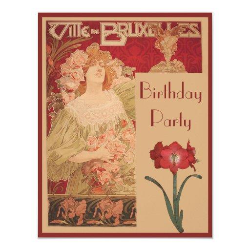 Art Nouveau Red Amaryllis & Lady Birthday Party 4.25x5.5