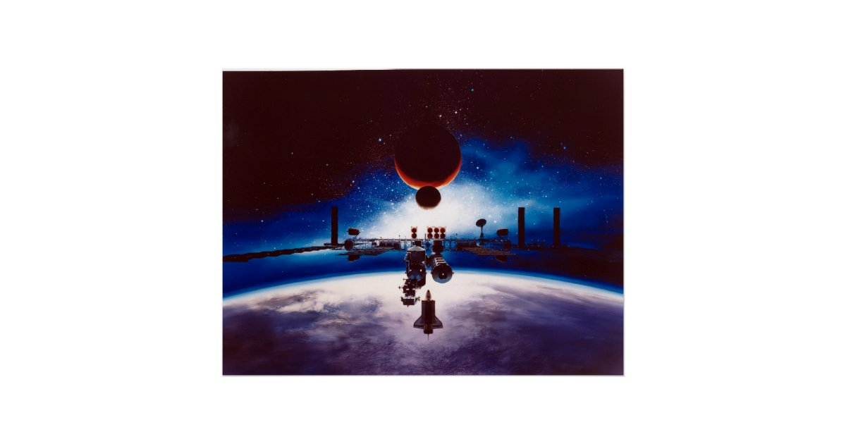 Artist's Conception of Space Station Freedom Poster   Zazzle