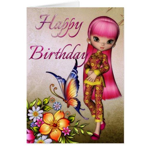 Asian Girl Beautiful Flowers Happy Birthday Card 2