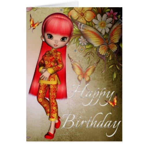 asian girl beautiful flowers happy birthday card 3  zazzle