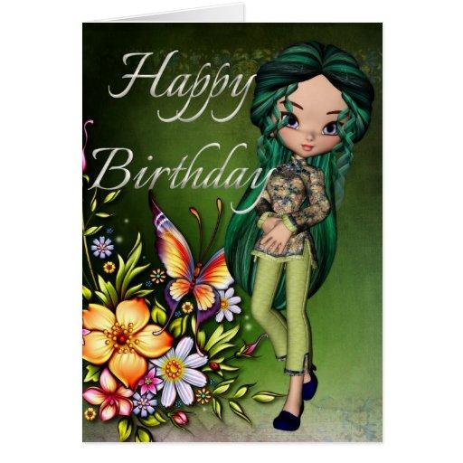 Asian Girl Beautiful Flowers Happy Birthday Card 5