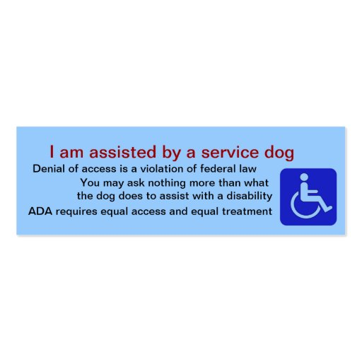assisted by service dog cards double sided mini business. Black Bedroom Furniture Sets. Home Design Ideas
