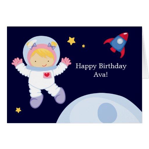 Astronaut Space Birthday Greeting Card   Zazzle