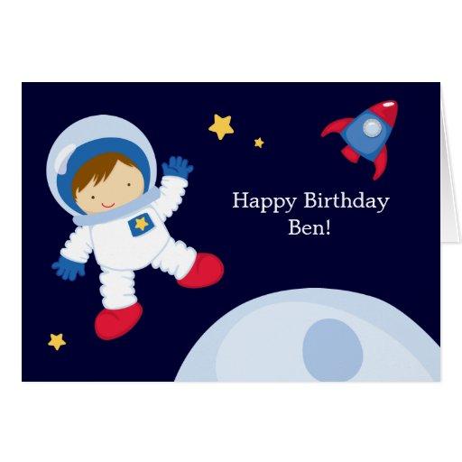 Astronaut Space Birthday Party Card   Zazzle