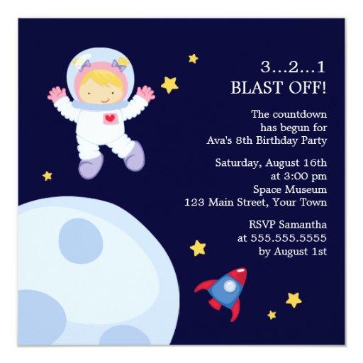 Astronaut Space Birthday Party Invitation   Zazzle