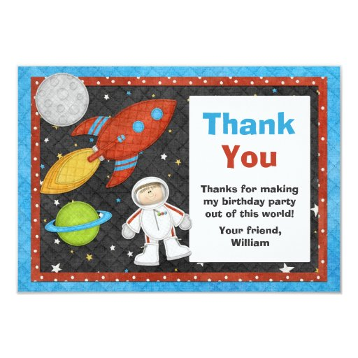 Astronaut Space Rocket Birthday Thank You Card Invites ...