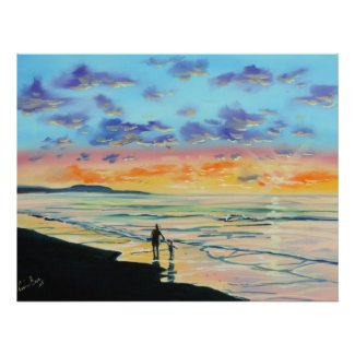 At The Beach With Granpa Sunset Painting Poster