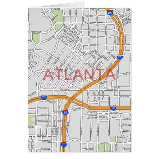 Atlanta Peachtree Road Map Greeting Card - Blank