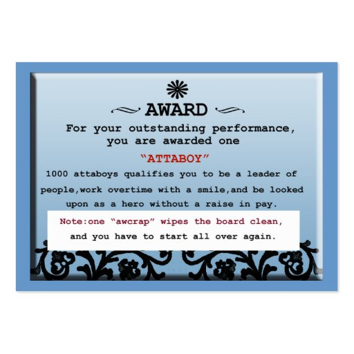 attaboy certificate large business cards (Pack of 100 ...