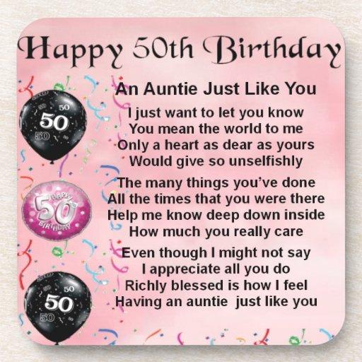 Auntie Poem - 50th Birthday Drink Coaster