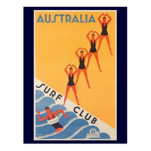 Australian Surf Club Vintage Poster Postcard